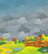 Cartoon Scene Of Farm Fields I...