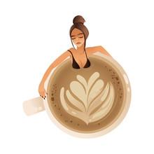 Cute Girl Taking Bath In Giant Coffee Mug Flat Cartoon Vector Illustration Isolated.