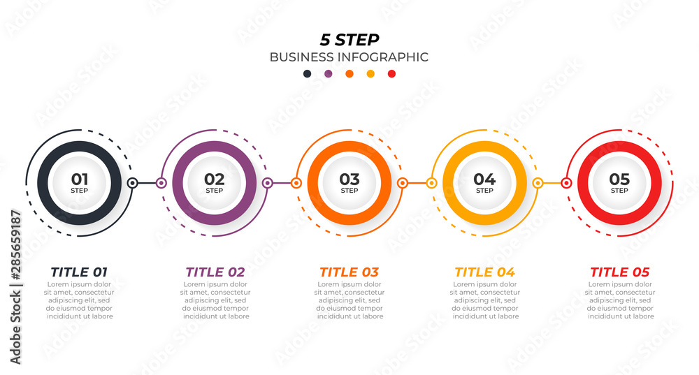 Fototapeta Timeline infographic design vector and 5 options. Can be used for workflow layout, diagram, annual report, web design. Vector business template for presentation.