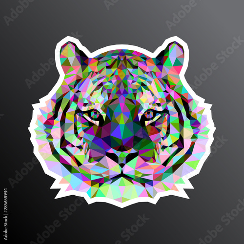 фотография  Colorful mosaic tiger face adapted for sticker print