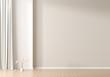Leinwanddruck Bild - Empty wall mock up in Scandinavian style interior. Minimalist interior design. 3D illustration.