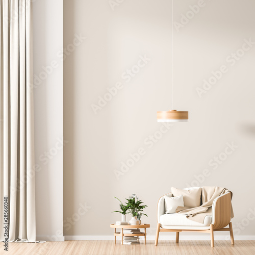 Obraz Empty wall mock up in Scandinavian style interior with wooden armchair. Minimalist interior design. 3D illustration. - fototapety do salonu