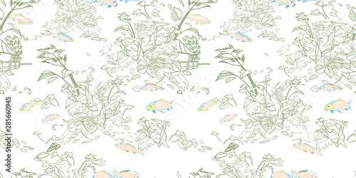 Etching style exotic jungle landscape pattern Canvas-taulu