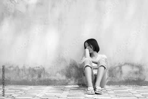 Photo asian girl sad alone ,black and white  tone
