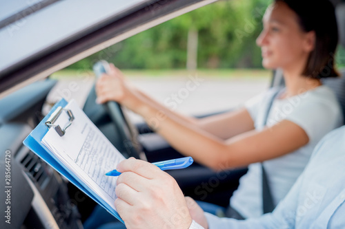Learning to drive a car. Driving school