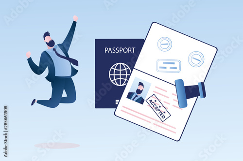 Fototapeta Open passport with stamp -accepted, happy businessman with visa approved,