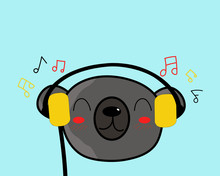Kawaii Bear Is Listening To The Music With Happy Smile.