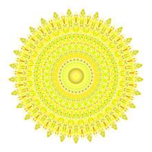 Flower Mandala Ornament - Yellow Circular Abstract Vector Design Element