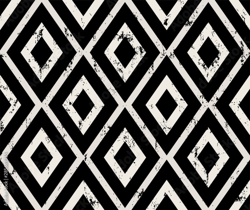 seamless geometric pattern background, with rhombus, strokes and splashes, grungy, black and white