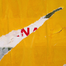 Old Yellow Blank Ripped Torn Posters Grunge Texture Background Creased Crumpled Paper Backdrop Placard Surface / Urban Advertising Street Posters