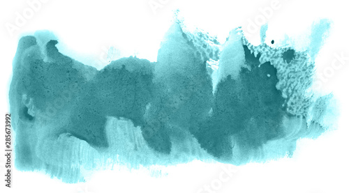 Wall Murals Crystals Abstract watercolor background hand-drawn on paper. Volumetric smoke elements. Blue-Green color. For design, web, card, text, decoration, surfaces.
