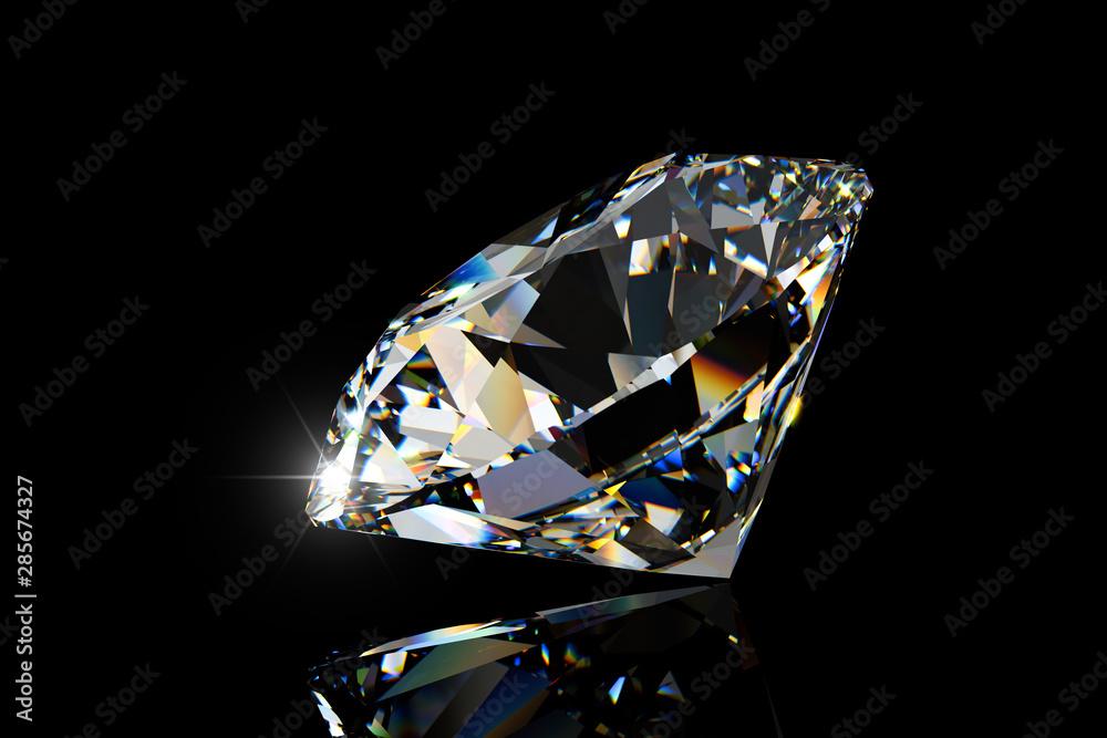 Fototapeta Big round cut diamond side view on black background