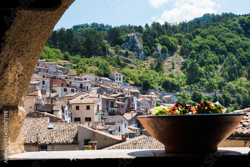 Cervara di Roma, Italy- July 21, 2019: Small traditional village in the Simbruini mountains near to Rome know as The artists village