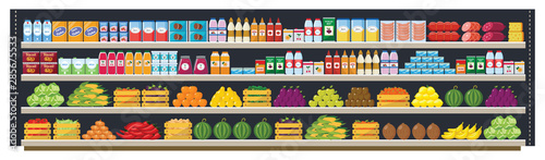 Cuadros en Lienzo Grocery supermarket shelves flat vector seamless background illustration