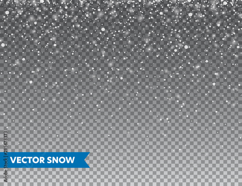 realistic falling snow with snowflakes winter transparent background for christmas or new year card frost storm effect snowfall ice vector illustration buy this stock vector and explore similar vectors at adobe fotolia