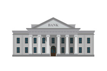 Bank Building With Columns. Go...