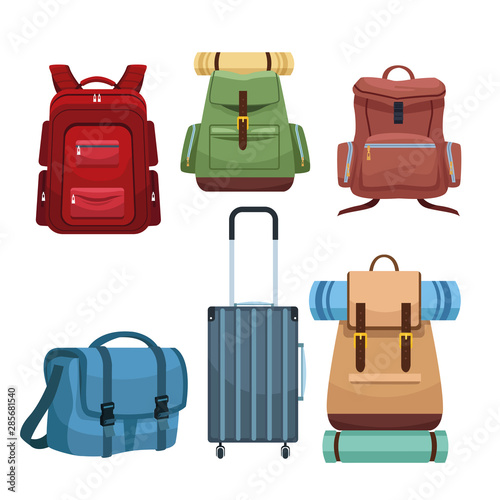 Obraz Travel camping backpacks and luggage - fototapety do salonu