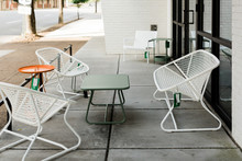 Modern White Metal Patio Furniture With Orange And Green Tables