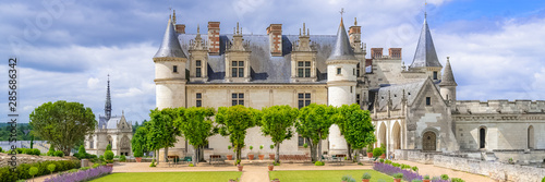 Obraz Amboise castle in France, beautiful French heritage, panorama in spring  - fototapety do salonu