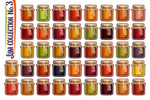 Vector Set Of Different Jam Jars, Group Of 42 Colorful Cut Out Objects Of Fruits Containers, Graphic Illustrations Of Various Glass Jars Covered Paper Lids Tied Bows, Home Made Jam Pots Collection.