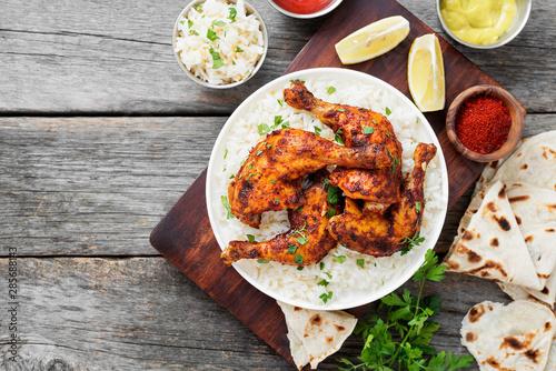 Keuken foto achterwand Kip Tandoori chicken with jasmine rice and pita bread, indian cuisine.