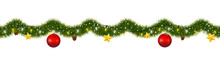 Christmas Garland Covered With Snow. New Year Tinsel Of Fir With Party Lights, Christmas Balls, Golden Stars And Pine Cones.