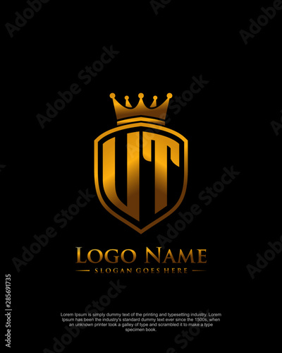 initial UT letter with shield style logo template vector Wallpaper Mural