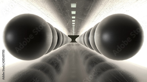 abstract-creative-modern-art-tunnel-with-iron-spheres-reflective-ground-and-balls-in-black-tunnel-with-white-lights