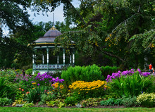 Colorful Painted Gazebo Rotunda Among Flower Beds At The Halifax Public Gardens Halifax Nova Scotia Canada