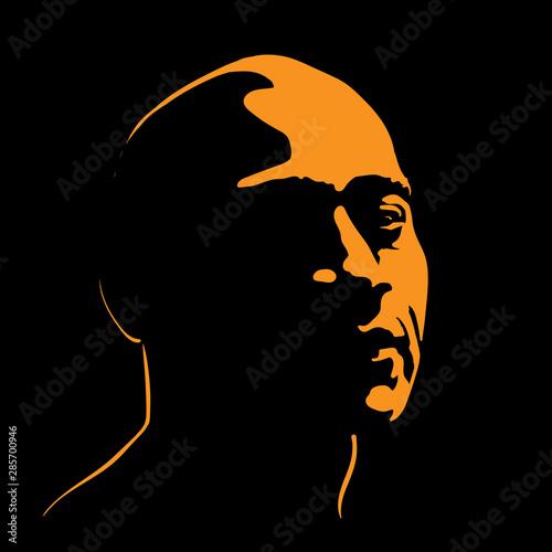 Brutal Man portrait silhouette contrast in light Fototapet
