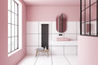 canvas print picture Pink and white tile bathroom interior, sink