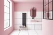 Leinwanddruck Bild Pink and white tile bathroom interior, sink