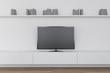 Leinwanddruck Bild Modern living room interior with TV set