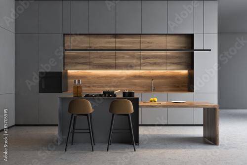 Grey kitchen interior with bar Canvas Print