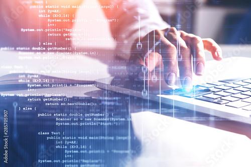 Cuadros en Lienzo Hand of woman in white typing, code