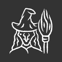 Witch Chalk Icon. Wicked Sorce...