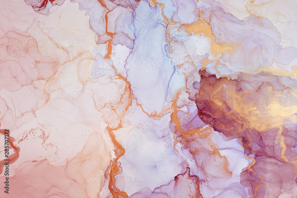 Fototapeta The picture is painted in alcohol ink. Creative abstract artwork made with translucent ink colors. Trendy wallpaper. Abstract painting, can be used as a background for wallpapers, posters, websites.