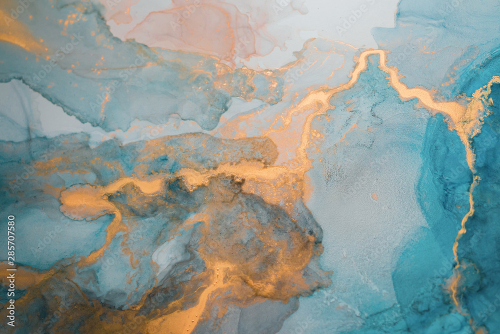 Fototapety, obrazy: The picture is painted in alcohol ink. Creative abstract artwork made with translucent ink colors. Trendy wallpaper. Abstract painting, can be used as a background for wallpapers, posters, websites.