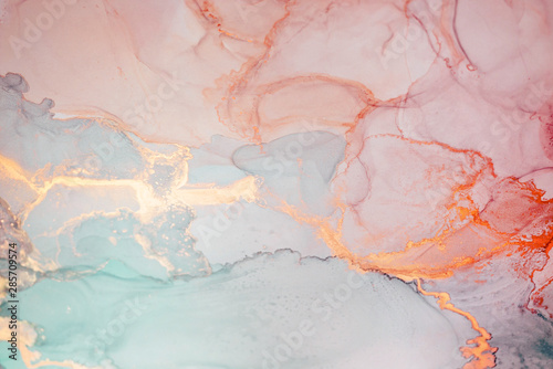 Fototapeta Alcohol ink. Style incorporates the swirls of marble or the ripples of agate.  Abstract painting, can be used as a trendy background for wallpapers, posters, cards, invitations, websites. obraz