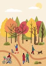 People Spending Time Together In  Autumn City Park. Colorful Trees With Orange, Red And Green Leaves In The Background. People Holding Hands, Walking The Dog, Riding Bicycle. Flat Vector Illustration