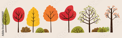 Set of vector illustration of autumn trees and bushes Canvas