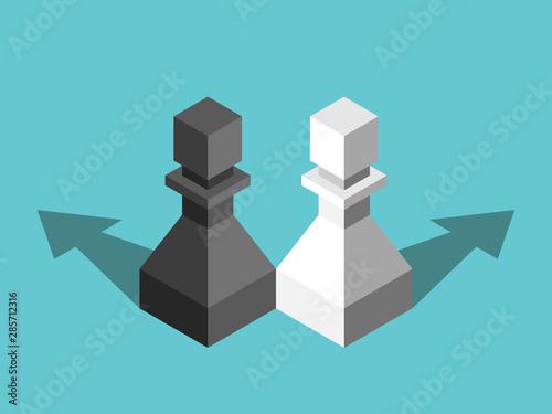 Fotografia  Black, white pawns, repulsion