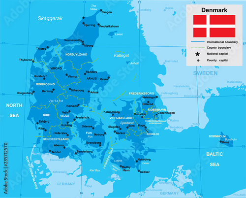 Cuadros en Lienzo vector map of Denmark