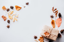 Autumn Vibes, Thanksgiving Day Present, Seasonal Sale Concept. Fall Composition, Background Made Of Dried Leaves, Pine Cones And Nuts On White. Copy Space