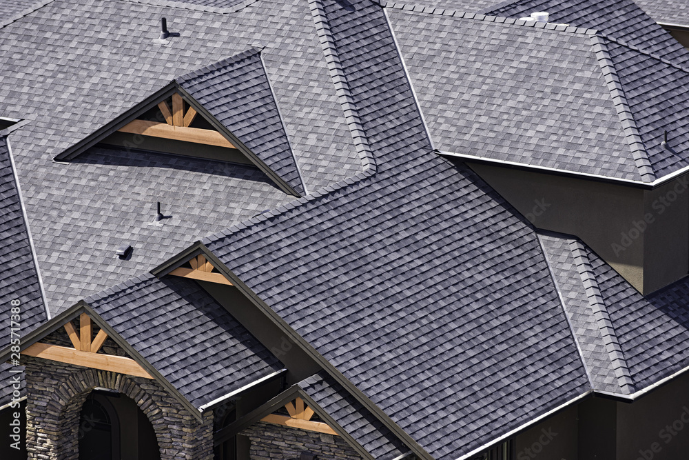 Fototapety, obrazy: Rooftop in a newly constructed subdivision in Kelowna British Columbia Canada showing asphalt shingles