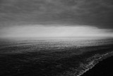Dark Stormy Cloudy Rocky Pebble Beach Sunset Black And White