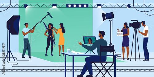 Photo  Film Recording Process, Crew and Actress, Movie