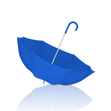 Vector 3d Realistic Render Blue Blank Umbrella Icon Upside Down Closeup Isolated On White Background. Design Template Of Opened Parasol For Mock-up, Branding, Advertise Etc. Front View