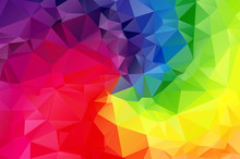 Rainbow Multicolored Low Poly Crystal Background. Polygon Design Pattern. Blue Red Purple Green Colorful Low Poly Vector Illustration, Low Polygon Background.