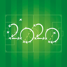 2020 New Year Soccer Strategy Arrows Green Field Background